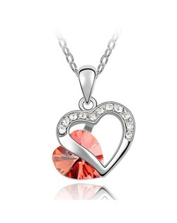 Mutual Hearts Austrian Crystal Platinum Plating Alloy Necklace - Red