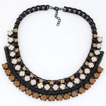 Gems Inlaid Pastorale Theme Multiple Layers Weaving Fashion Necklace - Brown