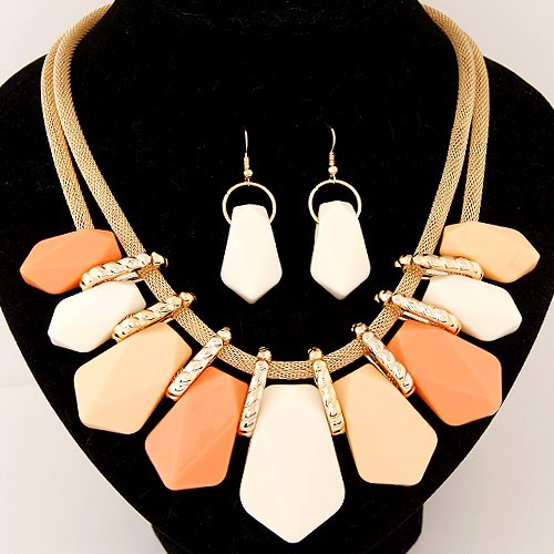 Irregular Candy Color Resin Pendants Fashion Necklace And Earrings Set Light Orange