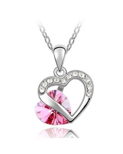 Mutual Hearts Austrian Crystal Platinum Plating Alloy Necklace - Rose