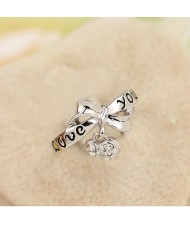 Bowknot with Rhinestone Inlaid Dangling Heart Design Platinum Plated Alloy Ring