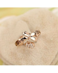 Bowknot with Rhinestone Inlaid Dangling Heart Design Rose Gold Ring