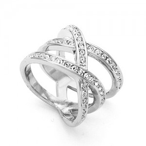 Austrian Rhinestone Embedded Crossing Design Knuckle Ring - Platinum
