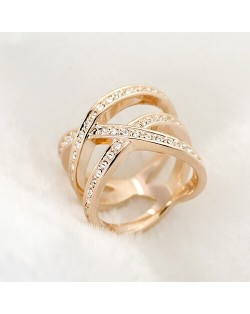Austrian Rhinestone Embedded Crossing Design Knuckle Ring - Rose Gold