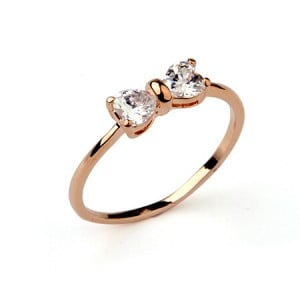 Cubic Zirconia Succinct Bowknot 18K Rose Gold Ring