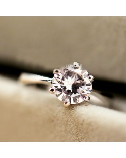 Graceful Classic Six Claw Cubic Zirconia Platinum Plated Alloy Ring