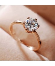 Graceful Classic Six Claw Cubic Zirconia Rose Gold Ring