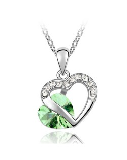 Mutual Hearts Austrian Crystal Platinum Plating Alloy Necklace - Olive