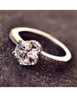 Stunning Style Six Claw Cubic Zirconia Wedding Ring