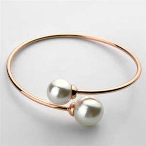 Graceful Twin Pearls Fashion Open-end Design Rose Gold Bangle