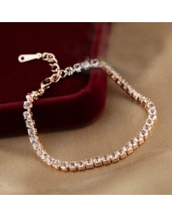 Cubic Zirconia Inlaid Simplistic Thin Style 18K Rose Gold Bracelet