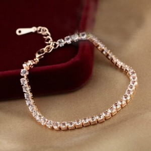 Cubic Zirconia Inlaid Simplistic Thin Style 18K Rose Gold Bracelet