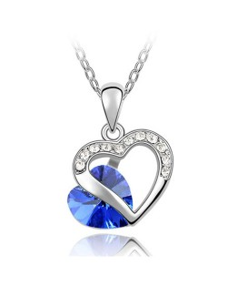 Mutual Hearts Austrian Crystal Platinum Plating Alloy Necklace - Blue