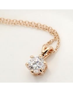 Six Claw Rhinestone Inlaid Pendant Necklace - Rose Gold