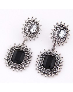 Rhinestone and Square Gem Inlaid Dual Hollow Chained Button Design Dangling Earrings - Black