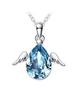 Cute Happy Angel Austrian Crystal Platinum Plating Alloy Necklace - Acquamarine