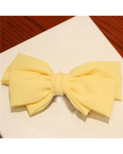 Korean Fashion Big Bowknot Hair Barrette - Yellow