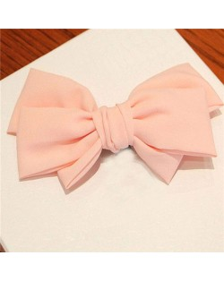 Korean Fashion Big Bowknot Hair Barrette - Pink