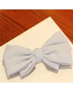 Korean Fashion Big Bowknot Hair Barrette - Blue