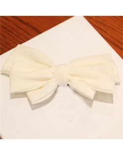 Korean Fashion Big Bowknot Hair Barrette - White