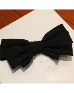 Korean Fashion Big Bowknot Hair Barrette - Black