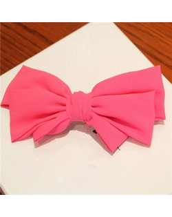 Korean Fashion Big Bowknot Hair Barrette - Rose