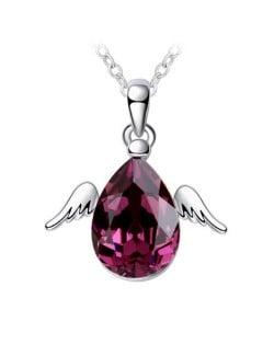 Cute Happy Angel Austrian Crystal Platinum Plating Alloy Necklace - Grape Purple