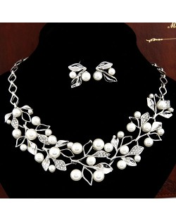 Pearl Inlaid Branches and Leaves Design Necklace Earrings Set