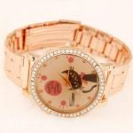 Cute Cat Face Design Golden Fashion Wrist Watch