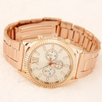 Multi-dial Fashion Design Golden Wrist Watch