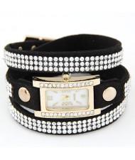 Rhinestone Attached Multiple Layer Leather Bracelet Style Rectangular Wrist Watch - Black