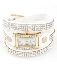 Rhinestone Attached Multiple Layer Leather Bracelet Style Rectangular Wrist Watch - White