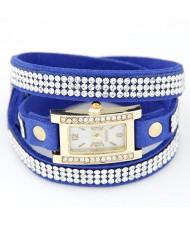 Rhinestone Attached Multiple Layer Leather Bracelet Style Rectangular Wrist Watch - Blue