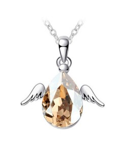 Cute Happy Angel Austrian Crystal Platinum Plating Alloy Necklace - Golden Yellow
