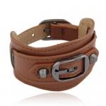 Belt Buckle Design Fashion Bracelet - Brown