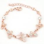 Korean Fashion Opal and Rhinestone Embedded Butterflies Golden Bracelet