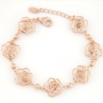 Korean Fashion Cubic Zirconia Inlaid Hollow Roses Golden Bracelet