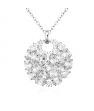 Elegant round flower cluster pendant necklace rose gold elegant round flower cluster pendant necklace silver aloadofball Images