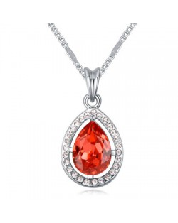 Hollow Style Waterdrop Pendant Austrian Crystal Necklace - Red
