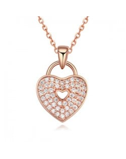 Cubic Zirconia Inlaid Heart Lock Pendant Necklace - Rose Gold