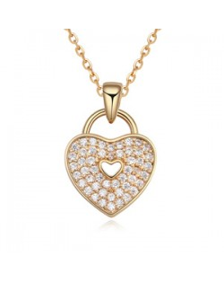 Cubic Zirconia Inlaid Heart Lock Pendant Necklace - Champagne Gold