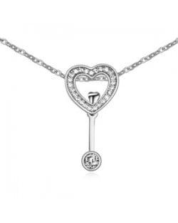 Gorgeous Heart Key Cubic Zirconia Necklace - Platinum