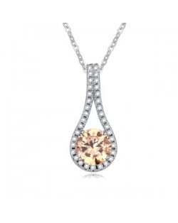 Delicate Cubic Zirconia Inlaid Waterdrop Pendant Necklace - Champagne