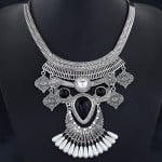 Unique Vintage Ethnic Design Pearl Decorated Chunky Costume Necklace - Silver