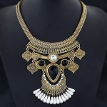 Unique Vintage Ethnic Design Pearl Decorated Chunky Costume Necklace - Copper