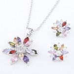Cubic Zirconia Embedded Floral Style Platinum Plating Copper Necklace and Earrings Set - Multicolor