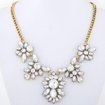 Transparent Resin Flowers Pendant Vintage Copper Chain Fashion Necklace