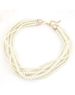 Multiple Layer Pearl Fashion Chunky Necklace