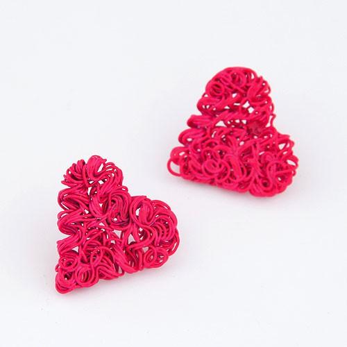 weaving wire spray paint wire weaving heart design ear studs rose
