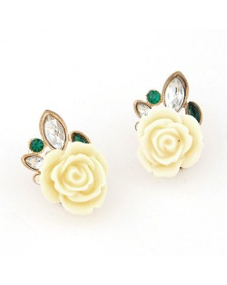 Appealing White Rose Ear Studs